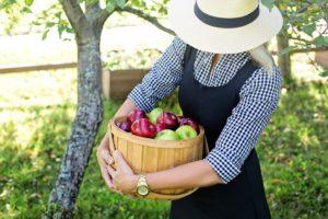 Frau mit Obstkorb