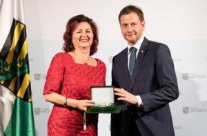 Viola Klein und Präsident Kretschmer