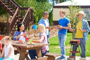 Relatives spending time together in summer